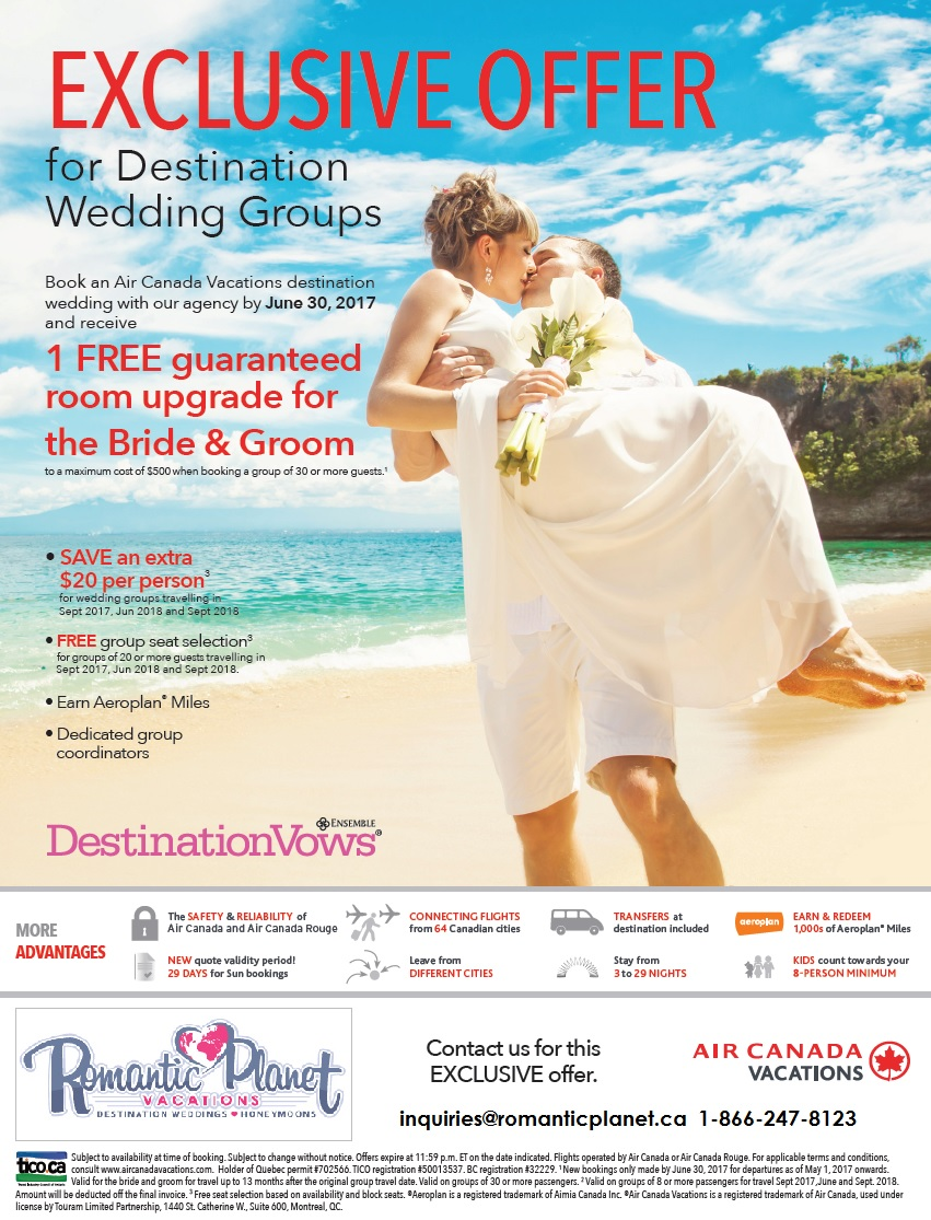 Air Canada Vacations Wedding Deal