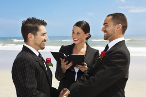 Gay beach destination wedding